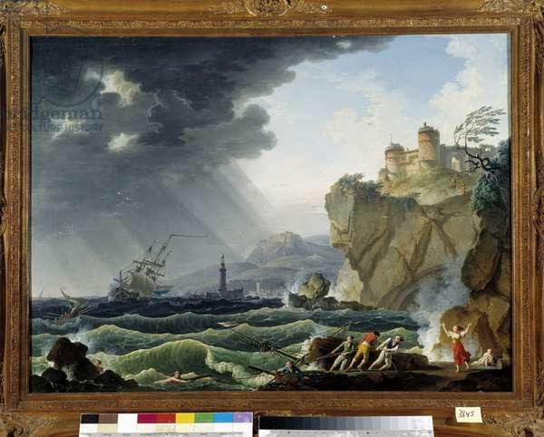 Scene of shipwreck. Painting by Charles Francois Grenier de la Croix dit Lacroix de Marseille (? -1782), 1763 Collection, P. Dumon, Mandatory mention: Collection fondation regards de Provence, Marseille