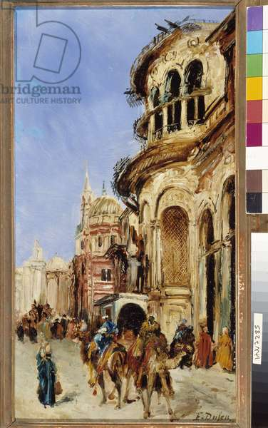 Untitled Street scene in a city in North Africa. Painting by Jacques Edouard Dufeu (1836-1900) 19th century Mandatory mention: Collection fondation regards de Provence, Marseille