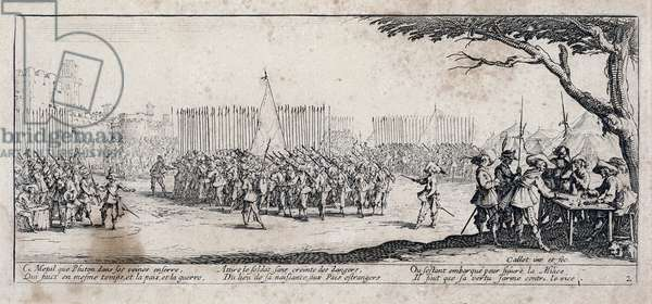 """Series """"The Miseries and the Miseries of War"""" (also called """"The Great Miseries of War"""") evoking the Thirty-Year War: The Enrolement of Troops. Engraving on paper by Jacques Callot (1592-1635), 1633. Dim: 8,4x18,9cm. Private Collection"""