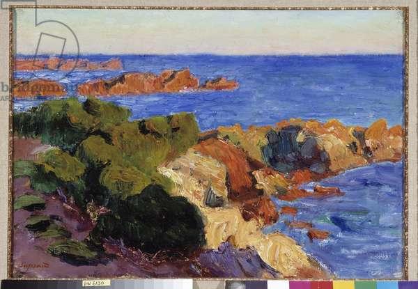 Les rochers rouges a Agay Painting by Rene Seyssaud (1867-1952) 1901 Fondation regards de Provence, Marseille