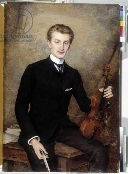 The violinist. Painting by Octave Gallian (1855-?). Oil on canvas, 1887. Mandatory mention: Collection fondation regards de Provence, Marseille.