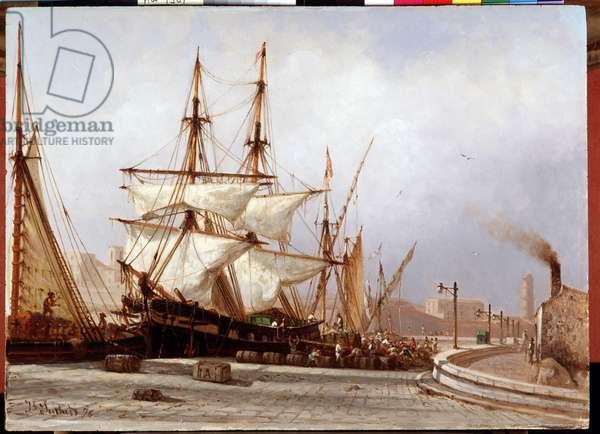 Unloading of goods on the port Painting by Joseph Suchet (19th century) 1876 Dim. 32,5x44,6 cm Mandatory mention: Collection fondation regards de Provence, Marseille