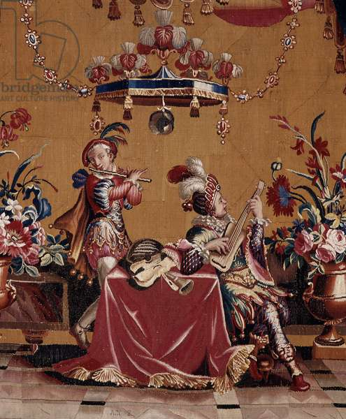 Musicians, detail of the bottom scene. Cartons of the curtain created by Jean-Baptiste Monnoyer (Jean-Baptiste Monnoyer, 1636-1699), inspired by Jean Berain pere (1640-1711). Tapestry in low-lice made by the Atelier de Beauvais. Wool and silk. Dim: 260x176cm. Musee des tapestries, Aix en Provence