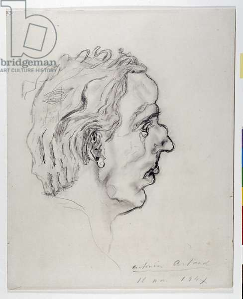 Portrait of the poet Jacques Prevel (1915-1951) in profile - May 11, 1947 (pencil on paper)