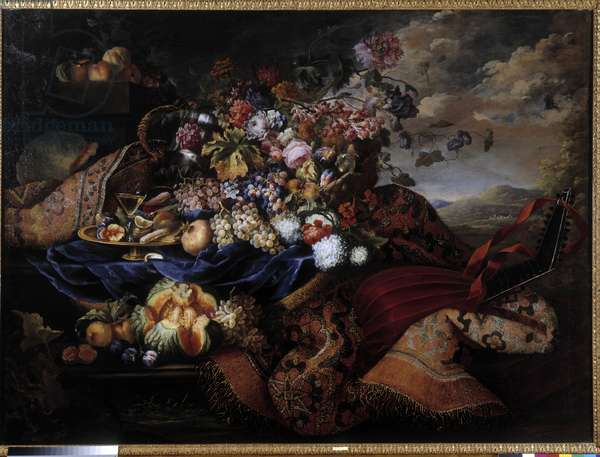Fruit basket, flowers and lute on carpet. Painting by Maximilian Pfeiler (1481-1536). Mandatory mention: Collection fondation regards de provence, Marseille (cm 145x196,5)