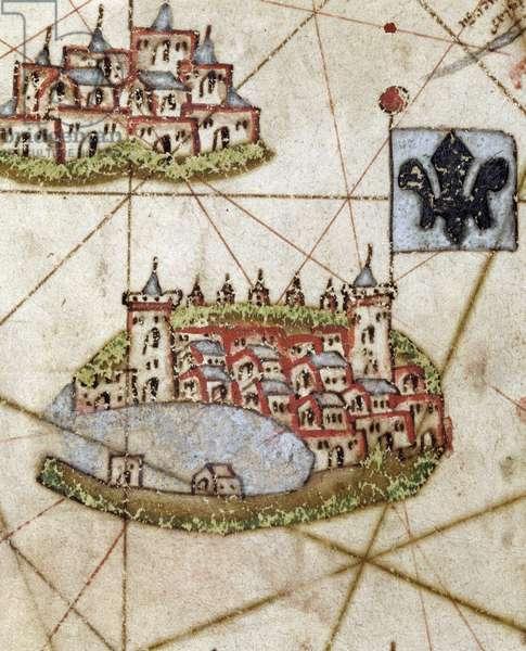 Geographic atlas: detail of the portulan of Juan Oliva representing the coast near Marseille, 1593 Bibliotheque municipale de Marseille.