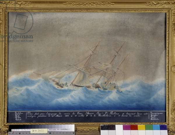 The Three Mats Boat: The Three Sisters. Wish made by the crew of the brick goelette Uranie and Virginia, Cne Morello, assaulted by a gale of O.N.O. by the 43¡3 'lat.n. and 5¡4' long. E. Anonymous painting. 1853. Cathedrale Notre Dame de la Garde, Marseille (cm 36x55).