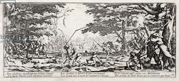"""Series """"The Miseries and the Miseries of War"""" (also called """"The Great Miseries of War"""") evoking the Thirty Year War: The Revenge of the Peasants. Engraving on paper by Jacques Callot (1592-1635), 1633. Dim: 8,3x18,7cm. Private Collection"""