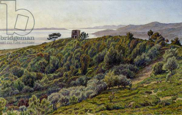 Old Tower and the Islands of Hyeres, 19th century (oil on canvas)