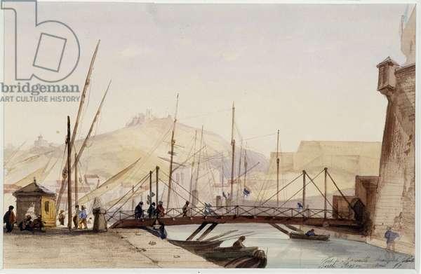 La passerelle sur le quai de la Joliette Watercolour by Berthe Rozand (19th century) 1859 Mandatory mention: Collection fondation regards de Provence, Marseille