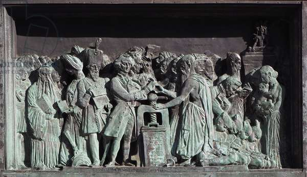 Strasbourg, Bas-relief of the sculpture of Gutenberg. Asia
