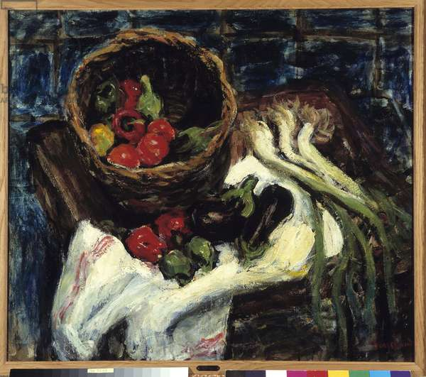 Still Life in Vegetable Basket Peppers, Eggplant and Leeks (oil on canvas)