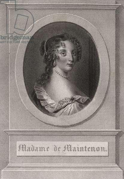 """Portrait of Francoise d'Aubigne (Madame de Maintenon, 1635-1719) - Engraving published in the book """"Les lettres de Madame de sevigne, de sa famille et de ses amis"""" - Private collection"""