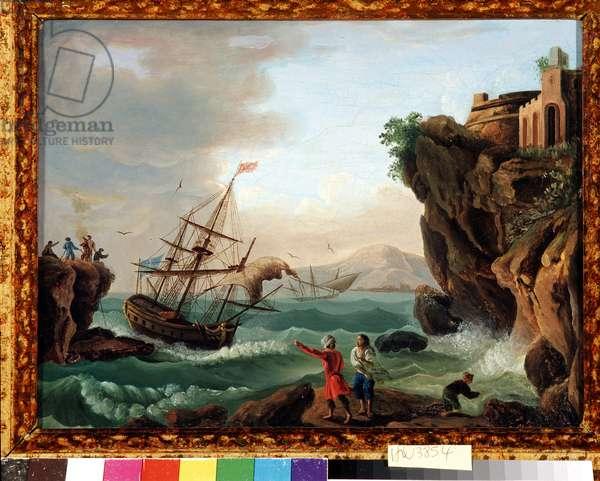 Untitled Seascape, Cliffs and Shaken Sea. Painting of the school vernet.18th century Dim. 27,5x35,4 cm Mandatory mention: Collection fondation regards de Provence, Marseille