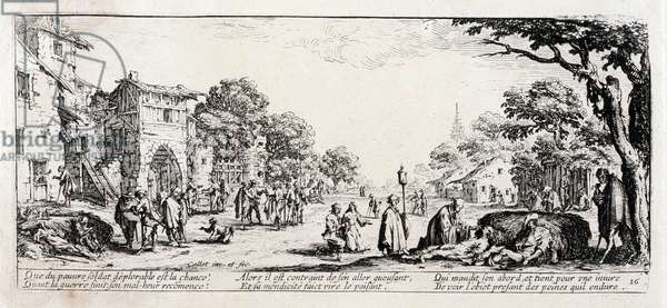 """Series """"The Miseries and the Miseries of War"""" (also called """"The Great Miseries of War"""") evoking the Thirty Year War: The Dying on the Edge of the Roads. Engraving on paper by Jacques Callot (1592-1635), 1633. Dim: 8,3x18,7cm. Private Collection"""