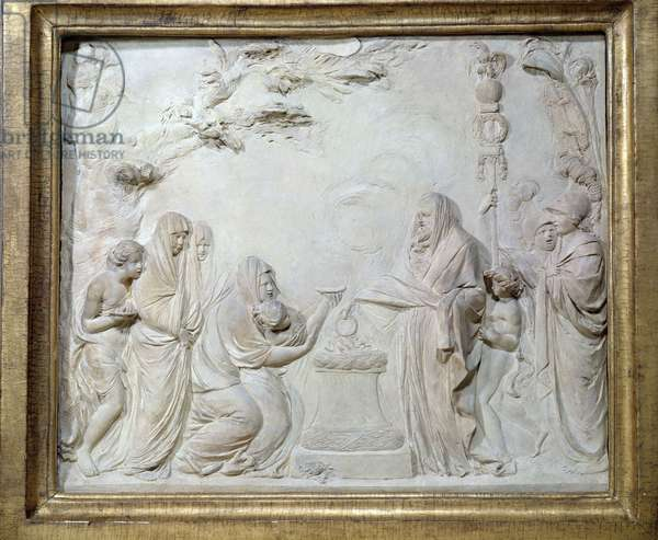 Consecration of a young Vestale in the presence of the goddesses Minerve and Vesta, 1786 (bas relief terracotta)