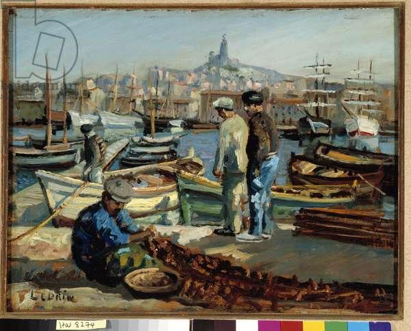 Pecheurs sur le quai du port de Marseille Painting by Marcel Leprin (1891-1933) Mandatory mention: Collection fondation regards de Provence, Marseille