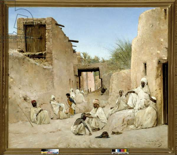 A street of the Oasis of Chetma in Algeria Painting by Maurice Bompard (1857-1936) 1882 Dim. 140x160 cm.