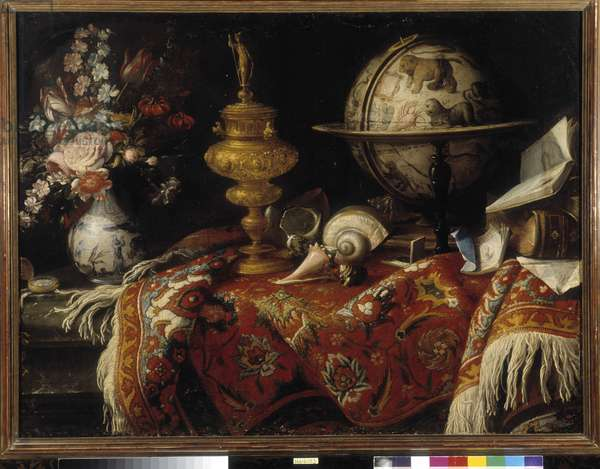 Vase of flowers, astral globe, books and goldwork on a carpet. Painting by Meiffren Conte (or Count) (1630-1705) Mandatory mention: Collection fondation regards de Provence, Marseille (cm 92x121)