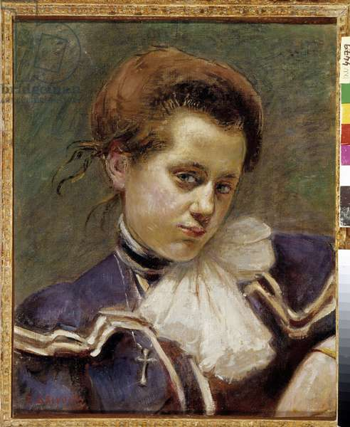 Portrait of young woman Young bourgeois looks melancolic. Painting by Pierre Grivolas (1823-1906) Mandatory mention: Collection foundation regards de Provence, Marseille