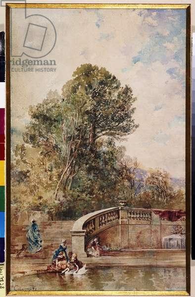 Elegantes dans parc d'Albertas ou scene de parc en Provence Watercolour by Joseph Cabasson (1841-1920) 1878 Mandatory mention: Collection fondation regards de Provence, Marseille