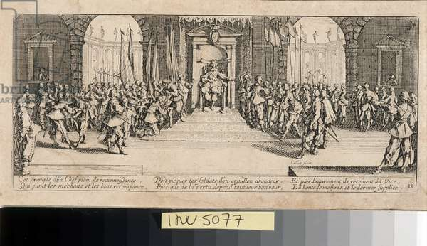 """Series """"The Miseries and the Miseries of War"""" (also called """"The Great Miseries of War"""") evoking the Thirty Year War: The Distribution of Rewards. Engraving on paper by Jacques Callot (1592-1635), 1633. Dim: 8,3x18,8cm. Private Collection"""