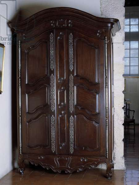 Decorative Arts: wardrobe of Fourques in walnut made in the 18th century. Musee du Vieux Marseille, Marseille.
