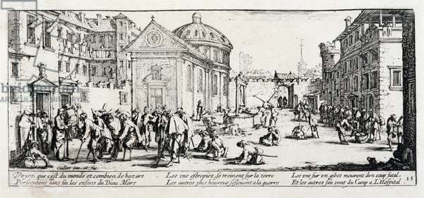 """Series """"The Miseries and the Miseries of War"""" (also called """"The Great Miseries of War"""") evoking the Thirty Year War: The Hospital. Engraving on paper by Jacques Callot (1592-1635), 1633. Dim: 8,1x18,6cm. Private Collection"""