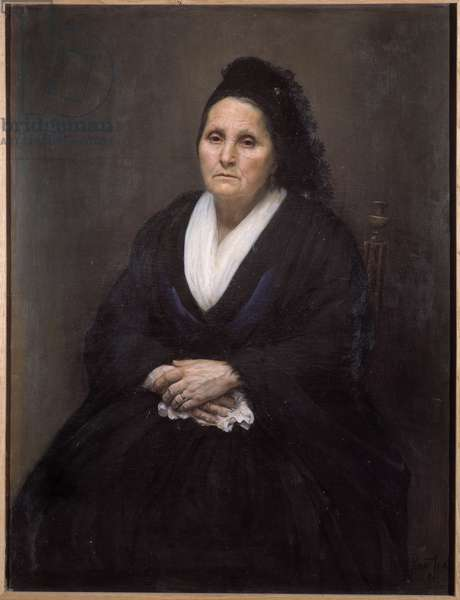 Portrait of old Provencal woman She is in mourning. Anonymous painting of the 19th century. Musee Ziem, Martigues