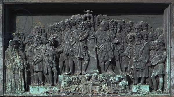 Strasbourg, Bas-relief of the sculpture of Gutenberg. Europe