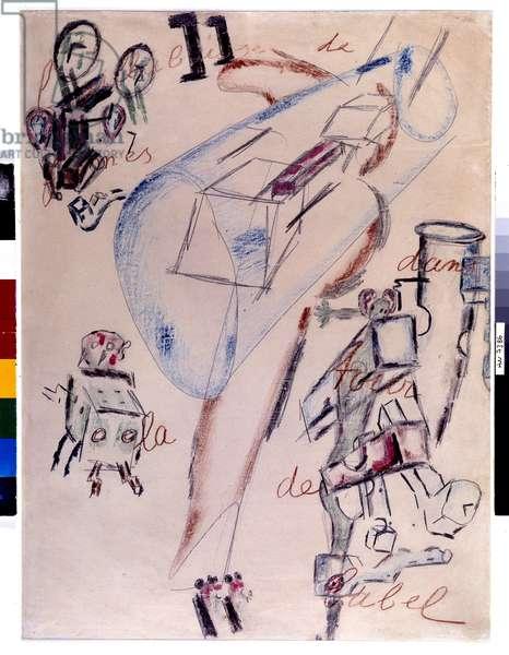 La bouillabaisse de formes dans la tower de Babel, February 1946 (dessin)