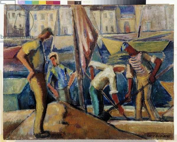 Terrassiers sur le quai a Marseille Painting by Louis Audibert (1881-1984) 20th century Mandatory mention: Collection fondation regards de Provence, Marseille