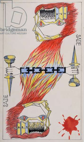 """Le Jeu de Marseille (Card to play): """""""" Sade. Genie of Revolution - Wheel"""""""". Marquis de Sade (1740-1814) Drawing by Jacques HEROLD (1910-1987) Chinese ink on paper. Dim: 27,2x17 cm Musee Cantini, Marseille"""