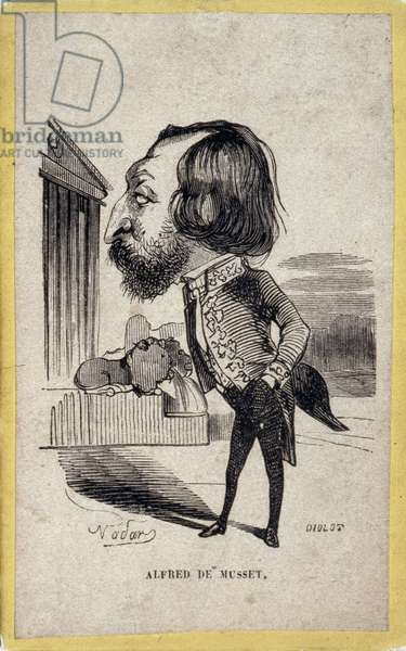 Portrait-charge by Alfred de Musset (1810-1857), French poet and playwright. Cartoon by Gaspard Felix Tournachon dit Felix Nadar (1820-1910). Engraving by Diolot after the drawing by Felix Nadar.