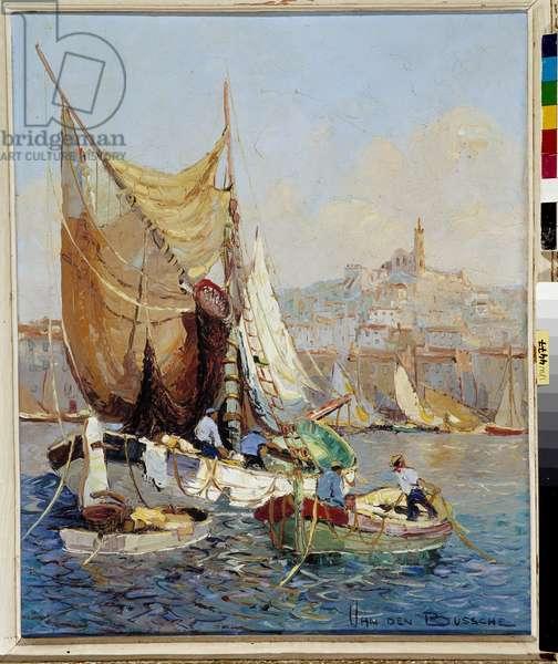 Pecheurs dans la Vieux Port de Marseille Painting by Fernand Van Den Bussche (1892-1975) 20th century Mandatory mention: Collection foundation regards de Provence, Marseille