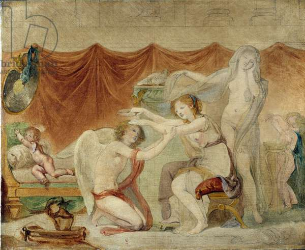 Psyche crowning Love, 18th (oil on canvas)