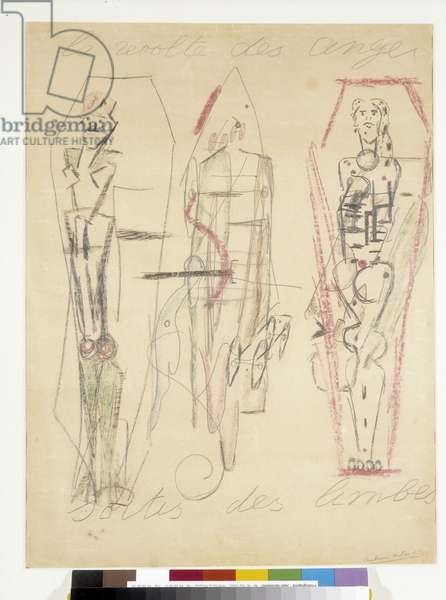 The revolt of angels coming out of limbo. Drawing by Antonin Artaud (1896-1948), 1946. Dim in cm 65x50. Musee Cantini Marseille