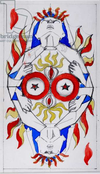 The game of Marseille: The Portuguese nun, Sirene d'amour - Flame (Chinese ink on paper)