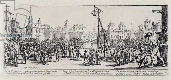 """Series """"The Miseries and the Miseries of War"""" (also called """"The Great Miseres of War"""") evoking the Thirty Year War: The Estrapade. Engraving on paper by Jacques Callot (1592-1635), 1633. Dim: 8,4x19,2cm. Private Collection"""
