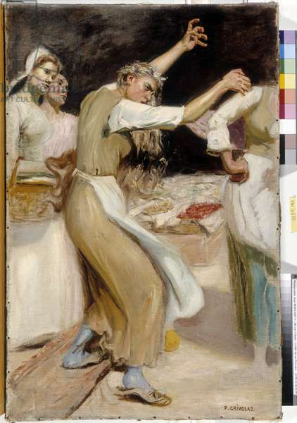 Merchant dispute. Painting by Pierre Crivolas (1823-1906), Mandatory mention: Collection foundation regards of Provence, Marseille (dim in cm 60,3x40,3)