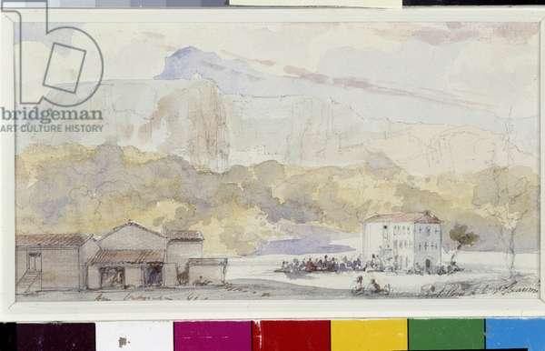 Hostellerie in the Massif de la Sainte Baume. Watercolour by Amable Louis Crapelet (1822-1867) 1845 Mandatory mention: Collection fondation regards de Provence, Marseille