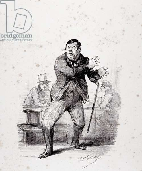 """Comedians on stage. Plate inserted in the album """"Les Ficelles Dramatiques deroulees by Berthelier de l'opera comique"""""""". Cartoon by Gaspard Felix Tournachon dit Felix Nadar (1820-1910). Dim: 26x32,5cm. Lithography based on a drawing on paper."""
