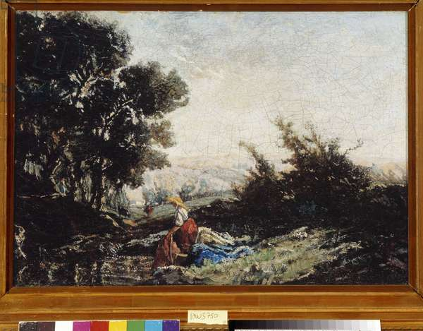 Lavandiere at the creek19th (oil on canvas)