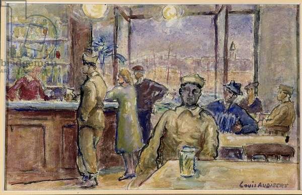Military in the bar Pierre (gouache)