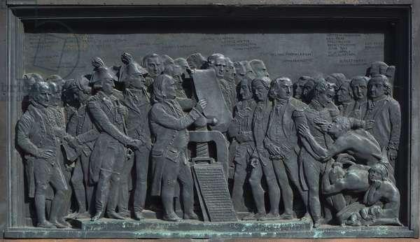 Strasbourg, Bas-relief of the sculpture of Gutenberg, America