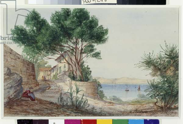 Campagne Bertrand a Saint Louis in the Bouches of the Rhone Watercolour by Amable Louis Crapelet (1822-1867) 1860 Mandatory mention: Collection fondation regards de Provence, Marseille