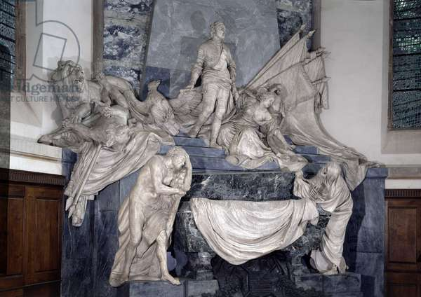 Mausolee of Count Maurice of Saxony (1696 -1750), marechal of France. Sculpture by Jean Baptiste Pigalle (1714-1785) 1771-1776 Church of Saint Thomas of Strasbourg.