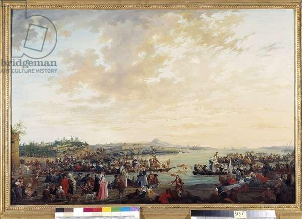 View of Marseille, fete sur l'eau Painting by Charles Eschard (1748-1810) 1785 Mandatory mention: Collection foundation regards de Provence, Marseille