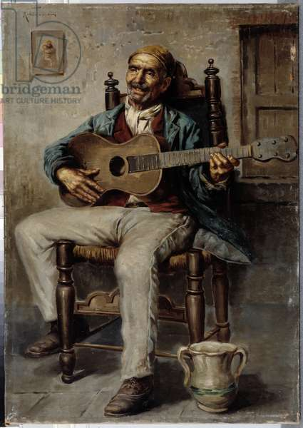 Guitar player Painting from Trigeria (?) (Italian school) 19th century Mandatory mention: Collection fondation regards de Provence, Marseille