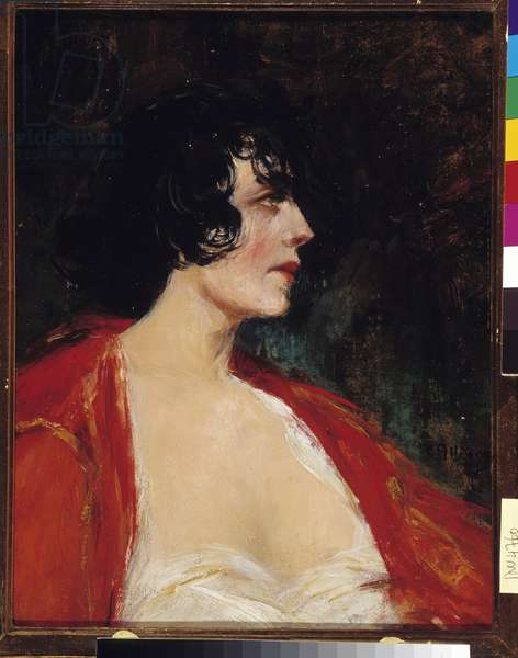 Portrait of woman in the red blouse Painting by Raymond Allegre (1857-1933) 20th century Mandatory mention: Collection fondation regards de Provence, Marseille